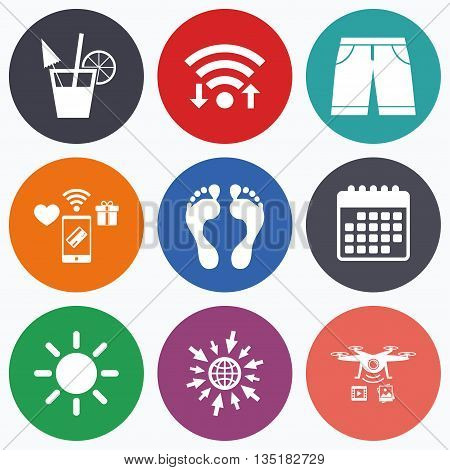 Wifi, mobile payments and drones icons. Beach holidays icons. Cocktail, human footprints and swimming trunks signs. Summer sun symbol. Calendar symbol.