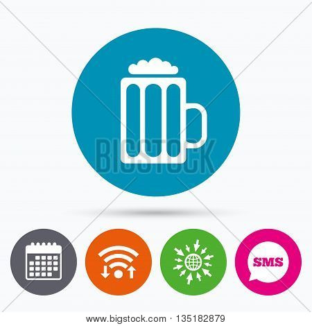 Wifi, Sms and calendar icons. Glass of beer sign icon. Alcohol drink symbol. Go to web globe.