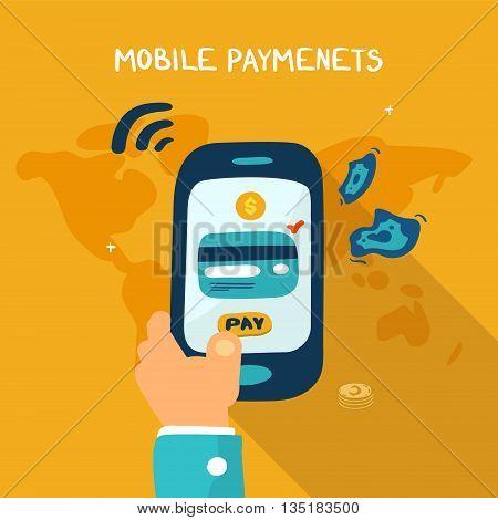 Mobile payment concept. Man holding phone, doodle illustration