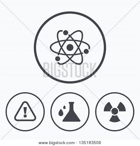 Attention and radiation icons. Chemistry flask sign. Atom symbol. Icons in circles.