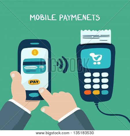 Mobile payments using smartphone terminal and credit card near field communication technology online banking. doodle design vector.