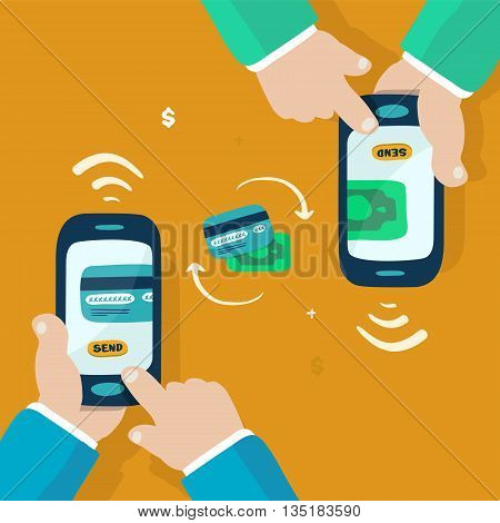 mobile and hands, money transfer doodle illustration