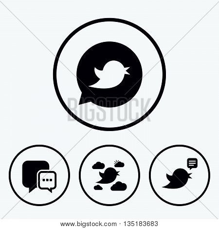 Birds icons. Social media speech bubble. Short messages chat symbol. Icons in circles.
