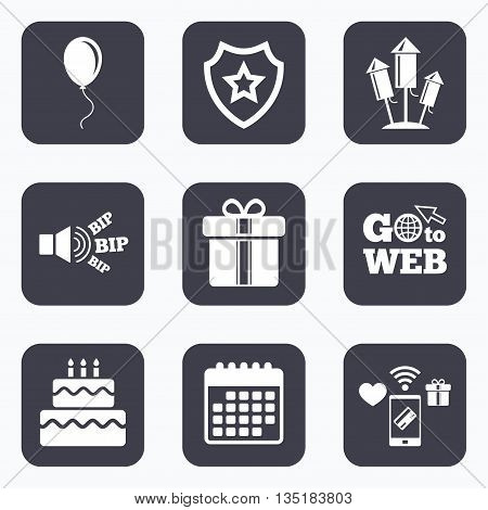 Mobile payments, wifi and calendar icons. Birthday party icons. Cake and gift box signs. Air balloons and fireworks rockets symbol. Go to web symbol.