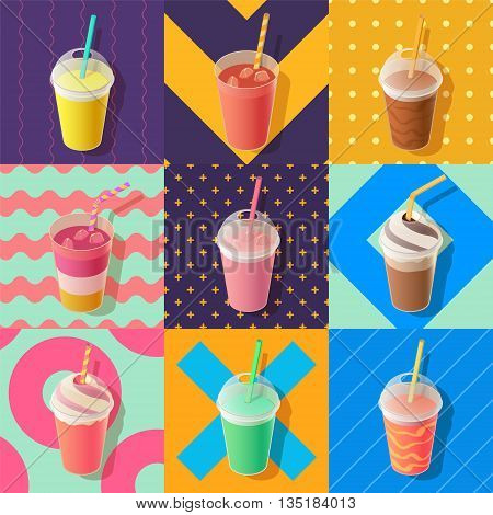 milkshake or smoothie take away cups isometric vector illustration