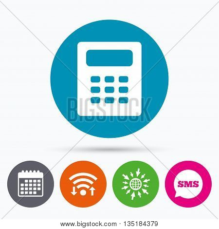 Wifi, Sms and calendar icons. Calculator sign icon. Bookkeeping symbol. Go to web globe.