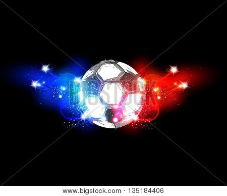 France football light banner with a soccer ball easy all editable