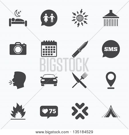 Calendar, go to web and like counter. Hiking trip icons. Camping, shower and wc toilet signs. Tourist tent, fork and knife symbols. Sms speech bubble, talk symbols.