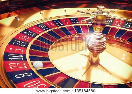 3D Rendering of a roulette wheel with ball
