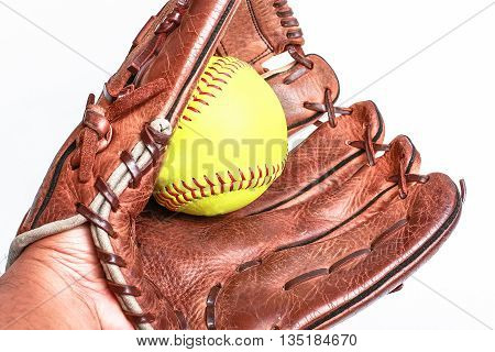 Closeup of a Softball Glove and match ball