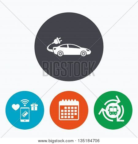 Electric car sign icon. Sedan saloon symbol. Electric vehicle transport. Mobile payments, calendar and wifi icons. Bus shuttle.