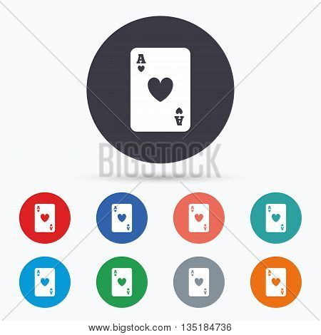 Casino sign icon. Playing card symbol Flat playing card icon. Simple design playing card symbol. Playing card graphic element. Circle buttons with playing card icon. Vector