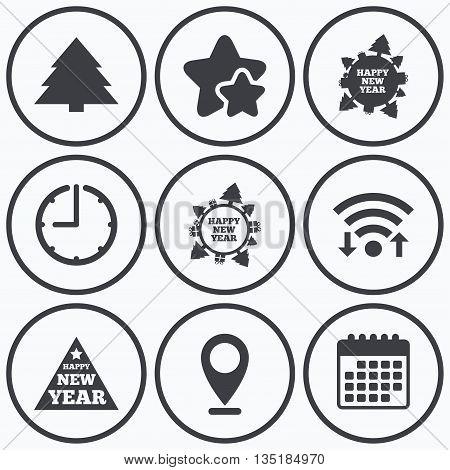 Clock, wifi and stars icons. Happy new year icon. Christmas trees signs. World globe symbol. Calendar symbol.