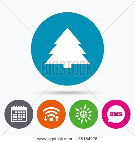 Wifi, Sms and calendar icons. Christmas tree sign icon. Holidays button. Go to web globe.