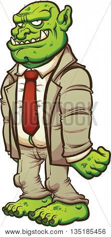 Cartoon troll in a business suit. Vector clip art illustration with simple gradients. All in a single layer.