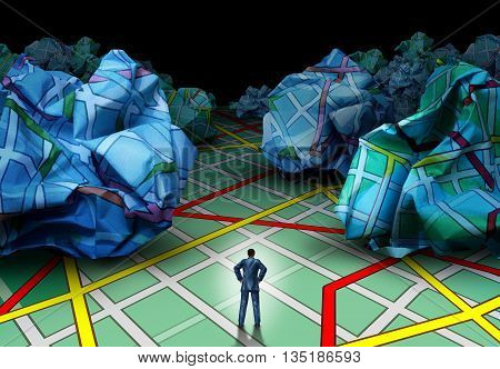 Business destination strategy concept as a businessman standing on a road map facing a background of crumpled paper map as a guidance and advice metaphor in a 3D illustration style.