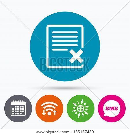 Wifi, Sms and calendar icons. Delete file sign icon. Remove document symbol. Go to web globe.