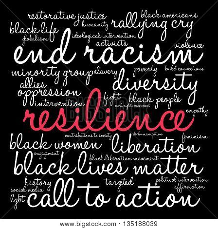 Resilience word cloud on a black background.