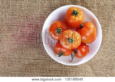 top view of the cherry tomatoes