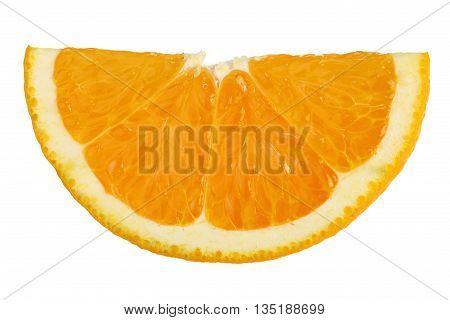 Orange fruit slice on white background with clipping path