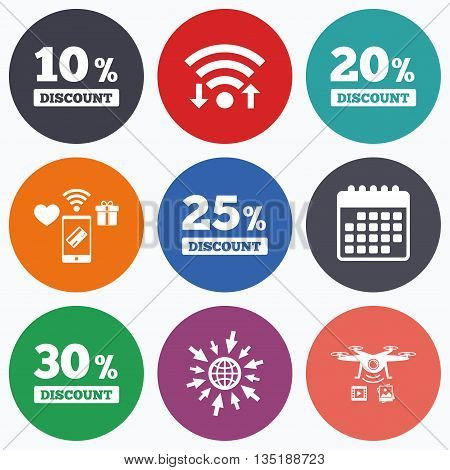 Wifi, mobile payments and drones icons. Sale discount icons. Special offer price signs. 10, 20, 25 and 30 percent off reduction symbols. Calendar symbol.
