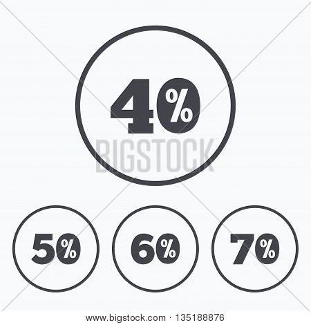 Sale discount icons. Special offer price signs. 40, 50, 60 and 70 percent off reduction symbols. Icons in circles.