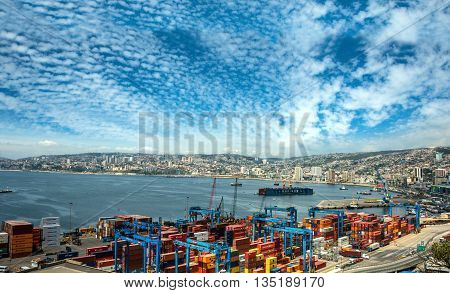 Cranes In A Port Of Valparaiso, Chile