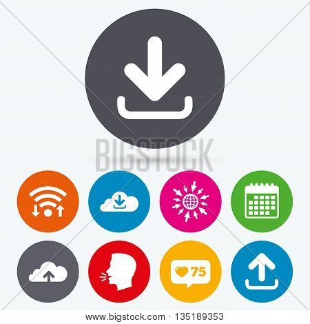 Wifi, like counter and calendar icons. Download now icon. Upload from cloud symbols. Receive data from a remote storage signs. Human talk, go to web.