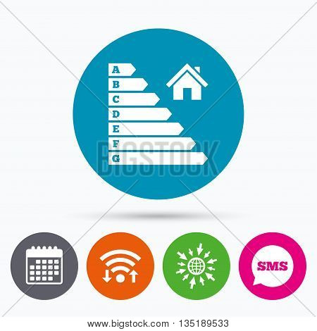 Wifi, Sms and calendar icons. Energy efficiency icon. Electricity consumption symbol. House building sign. Go to web globe.