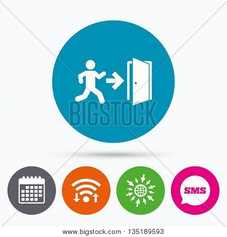 Wifi, Sms and calendar icons. Emergency exit with human figure sign icon. Door with right arrow symbol. Fire exit. Go to web globe.