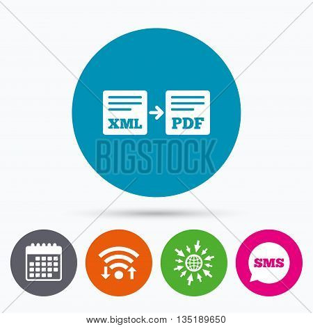 Wifi, Sms and calendar icons. Export XML to PDF icon. File document symbol. Go to web globe.