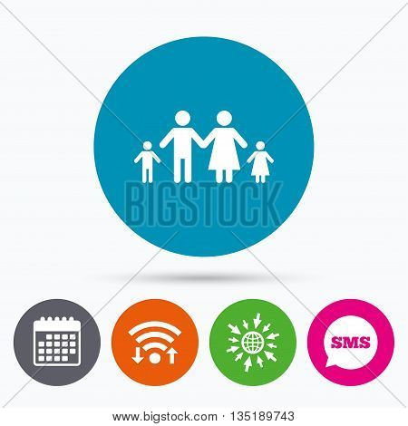 Wifi, Sms and calendar icons. Family with two children sign icon. Complete family symbol. Go to web globe.