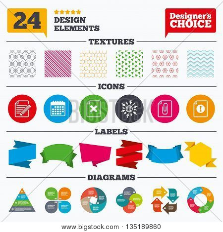 Banner tags, stickers and chart graph. File attention icons. Document delete and pencil edit symbols. Paper clip attach sign. Linear patterns and textures.