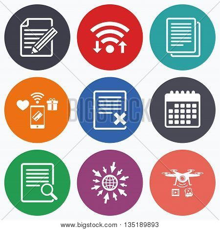 Wifi, mobile payments and drones icons. File document icons. Search or find symbol. Edit content with pencil sign. Remove or delete file. Calendar symbol.