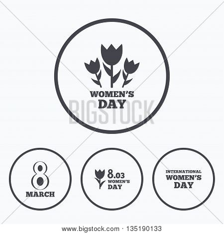 8 March Women's Day icons. Tulips or rose flowers bouquet sign symbols. Icons in circles.