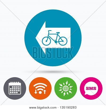 Wifi, Sms and calendar icons. Bicycle path trail sign icon. Cycle path. Left arrow symbol. Go to web globe.