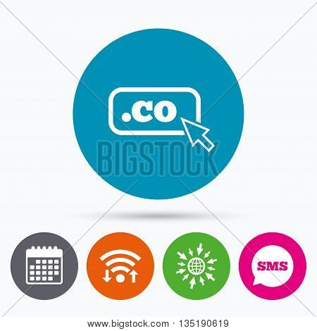 Wifi, Sms and calendar icons. Domain CO sign icon. Top-level internet domain symbol with cursor pointer. Go to web globe.