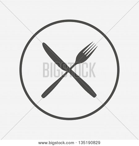 Eat sign icon. Cutlery symbol. Fork and knife. Flat fork icon. Simple design fork symbol. Fork graphic element. Round button with flat fork icon. Vector
