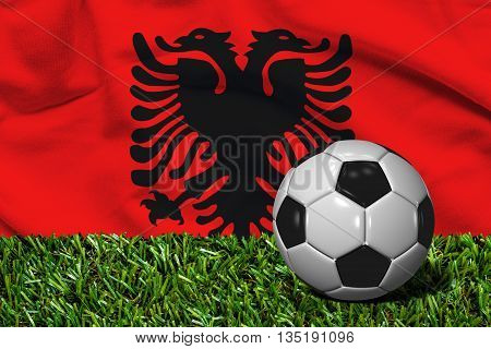 Soccer Ball On Grass With Albania Flag Background, 3D Rendering
