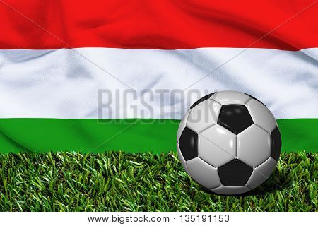Soccer Ball On Grass With Hungary Flag Background, 3D Rendering