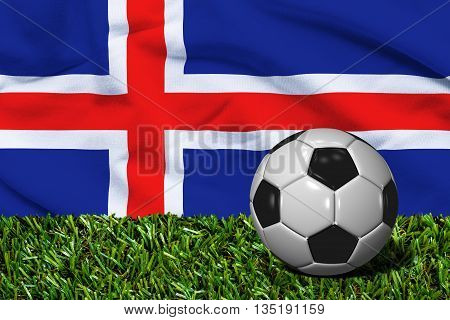 Soccer Ball On Grass With Iceland Flag Background, 3D Rendering