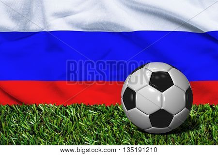 Soccer Ball On Grass With Russia Flag Background, 3D Rendering