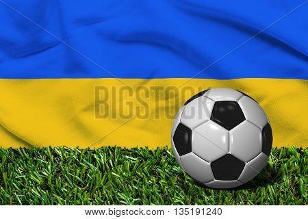 Soccer Ball On Grass With Ukraine Flag Background, 3D Rendering