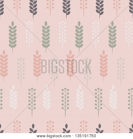 Pastel herbs, Seamless vector pattern with stylized plants
