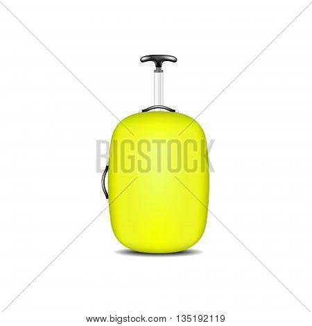 Travel suitcase in yellow design on white background
