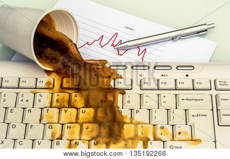 coffee will spill on the office computer through adversity