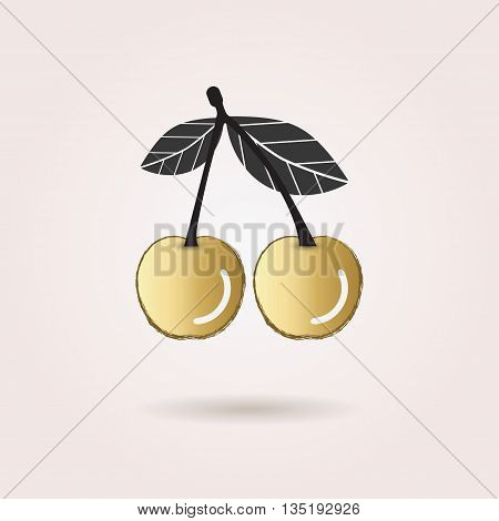 Black and golden abstract cherry icon with dropped shadow on pink gradient background