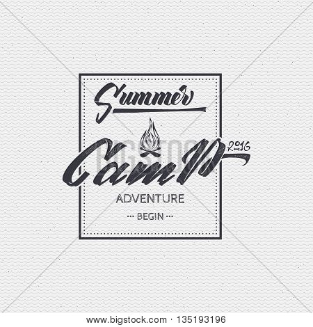 summer camp typographic design mark made using a combination of the composition of geometric forms, rays, letters, painted by hand with the help of lettering and calligraphy skills