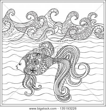 Hand drawn decorated fish in the ocean with waves. Image for adult and children coloring book engraving etching embroidery decorate t-shorts tunics. eps 10