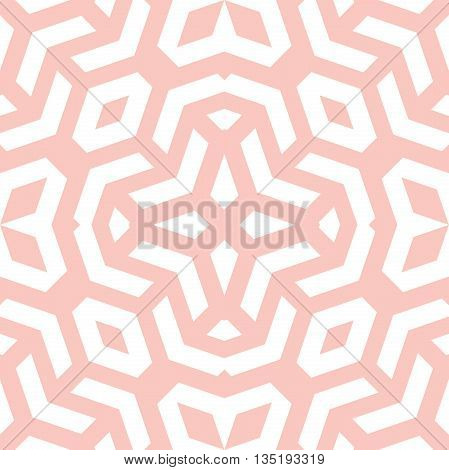Geometric fine abstract background. Seamless modern pink and white pattern